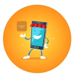 Phone character app market vector image vector image