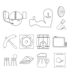 Pub interior and equipment outline icons in set vector