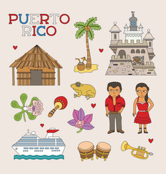Puerto rico doodle art for travel and tourism vector