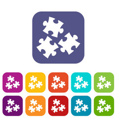 Puzzle icons set flat vector