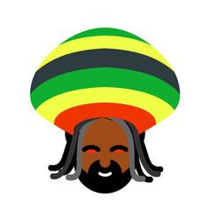 Rastaman avatar rasta cap and dreadlocks sign vector