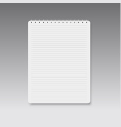realistic spiral horizontal lined notebook vector image