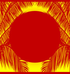 red sun and palm tree silhouette over yellow vector image