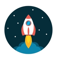 Rocket launch flat icon vector