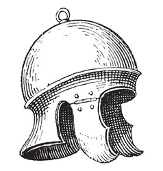 Roman legionnaires helmet engraving vector