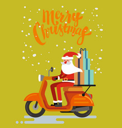 santa claus riding scooter on orange background vector image