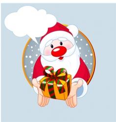 santa giving a gift card vector image