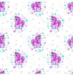Seamless pattern with beautiful cartoon little vector