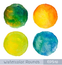 set colorful watercolor circular backgrounds vector image