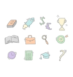 set hand drawn business icons vector image