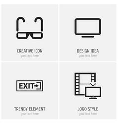 set of 4 editable cinema icons includes symbols vector image