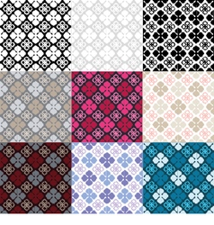 Set of 9 ethnic boho seamless pattern vector