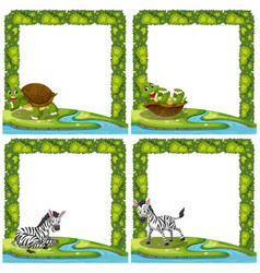 Set of animal in nature frame vector
