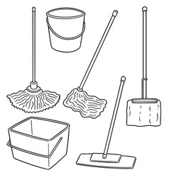 set of cleaning mop vector image