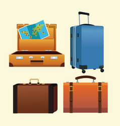 Set of travel luggages vector