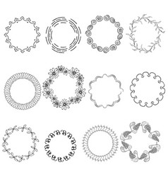 Set with round black frames on white background vector