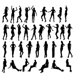 silhouettes dancing standing and vector image