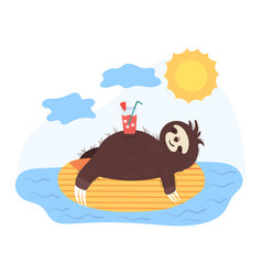 Sloth resting on inflatable circle concept and vector
