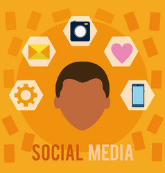 social media user with symbols vector image