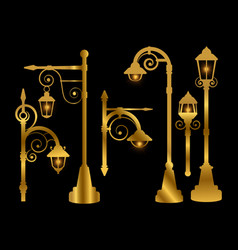 Street lamp road lights golden vector