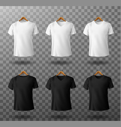 t-shirt mockup black and white male t shirts set vector image