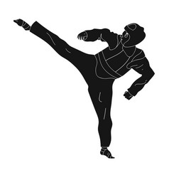 taekwondo fighter in white kimono and red vector image