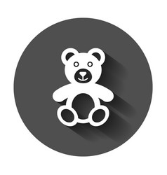 Teddy bear plush toy icon with long shadow vector