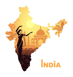 the map with the landscape of india and a dancing vector image