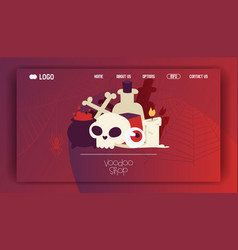 Voodoo web page cartoon skull in scary vector