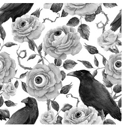 watercolor floral halloween pattern vector image