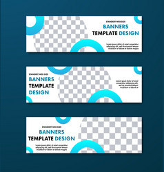 White horizontal banner design with round vector