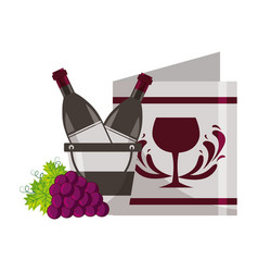 wine bottle ice bucket restaurant menu and grapes vector image