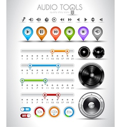 Audio tools design elements collection vector image vector image