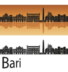 Bari skyline in orange background vector image vector image