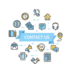 contact us icon round design template thin line vector image vector image