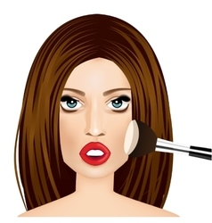 Makeup artist applying powder brush to woman vector