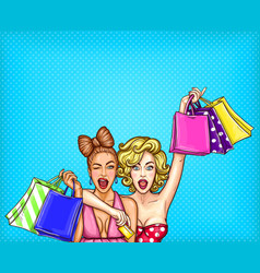 pop art of two young glamorous vector image