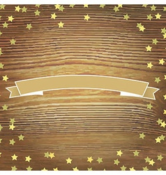 Wooden Background With Gold Stars And Banner vector image