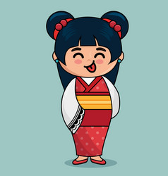 cute japanese doll kawaii style vector image