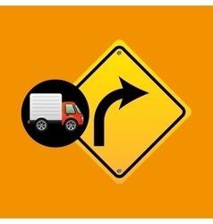 right turn traffic sign concept vector image