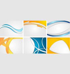 set of abstract blue and orange wavy backgrounds vector image
