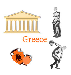 travel collection greece landmark set vector image