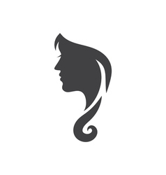 Conceptual logo silhouette of a woman with hair vector image vector image