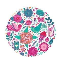Floral circle with doodles flowers Round shape vector image vector image