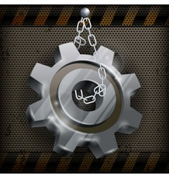 Gear with chain on metal vector image vector image