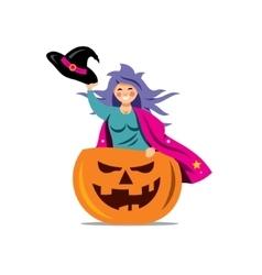 Halloween Witch in pumpkin Cartoon vector image