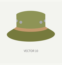 line tile color hunt and camping icon hat vector image vector image