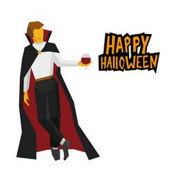 standing vampire with wineglass in hand vector image