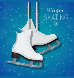 white ice skates on winter vector image vector image