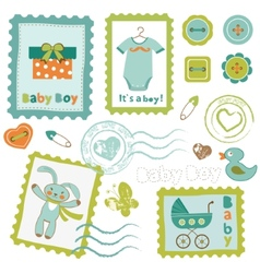 Baby boy stamps set vector image vector image